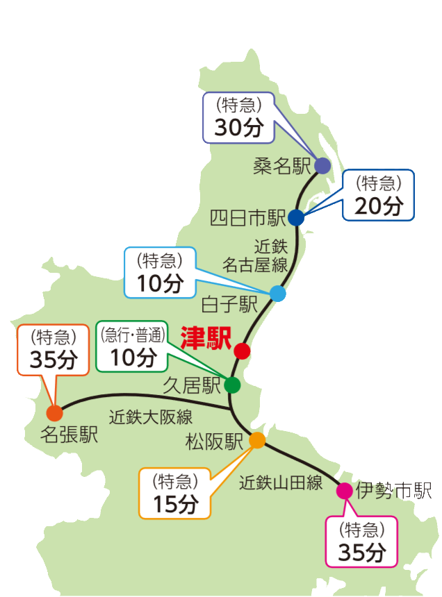 三重県内のアクセスマップ